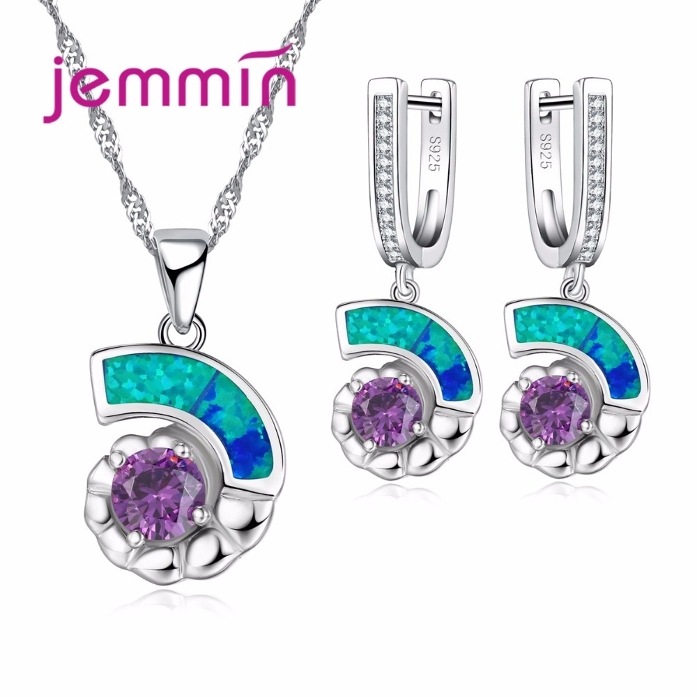Jemmin Charm Blue Fire Opal 925 Sterling Silver Crystal Necklace And Earring Set Bridal Wedding Jewelry Sets For Women Accessory