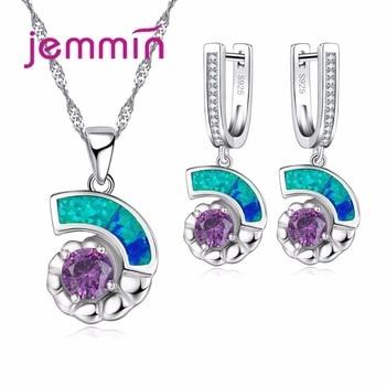 Jemmin Charme Blue Fire Opal 925 Prata Esterlina Colar de Cristal E Brinco Set Nupcial Do Casamento Conjuntos de Jóias Para As Mulheres Acessórios
