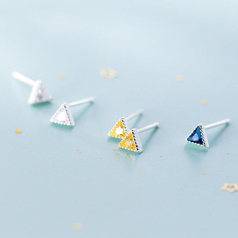 New Arrival Minimalist Earrings Sterling Silver Cubic Zirconia Triangle Stud Earrings For Women Girls Kids Jewellery 2019 Brinco