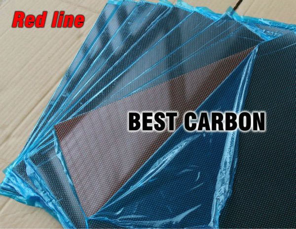Free shipping 400mm x 500mm Red line glossy Carbon Fiber Plate, cf plate , carbon sheet ,carbon panel 2 5mm x 500mm x 500mm 100% carbon fiber plate carbon fiber sheet carbon fiber panel matte surface