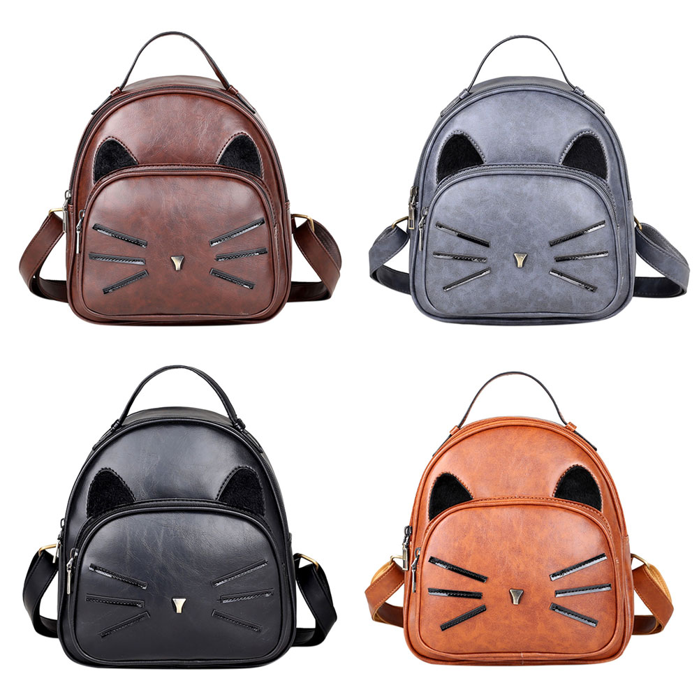 Design Pu Leather Backpack Women For Teenage Girls School Lady's Small Vintage Cat Back Pack Travel Bags #6