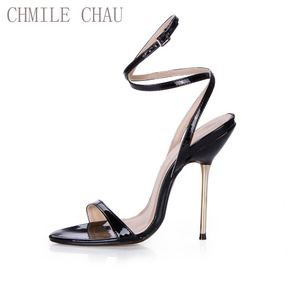 CHMILE צ 'או מסיבה סקסית נעלי נשים פגיון עקבים גבוהים קרסול רצועת עבודת משרד ליידי סנדלי Zapatos Mujer בתוספת גדלים 3845-i11