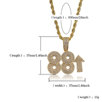 Customized Number 88 Iced Out Zirconia Pendant Necklace Bling Cz Gold Silver Men's Hip Hop Necklace With Tennis Chain Jewelry