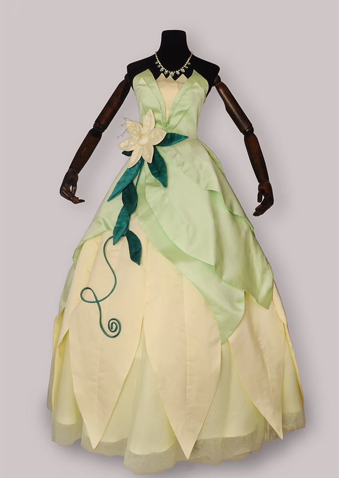 100 real luxury light green flower waist Tiana princess vintage ball gown royal Medieval Renaissance Victorian