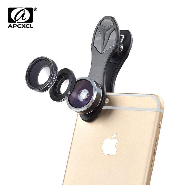 Apexel novo 3 em 1 fisheye lens wide angle lens macro profissional kit lente da câmera para o iphone 5 6 6 s plus xiaomi samusng htc DG3