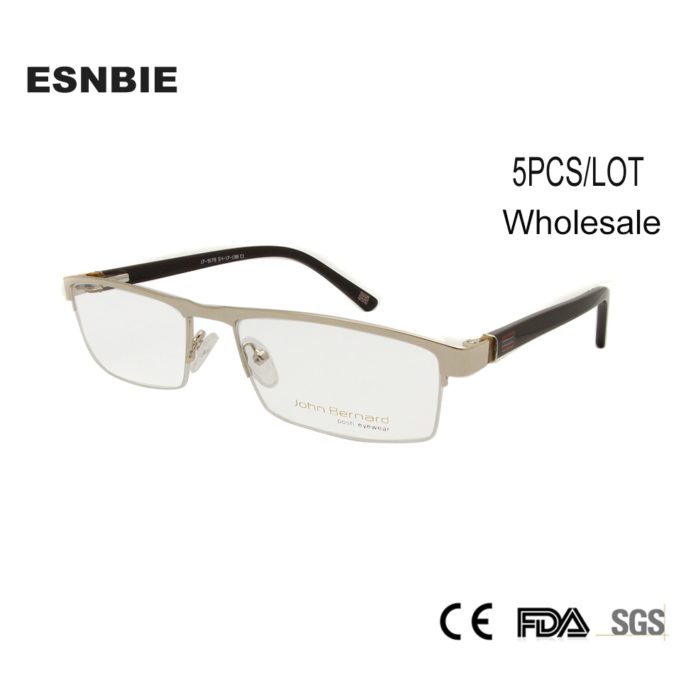 ENSBIE (5PCS/LOT) Business Male Eyeglasses Frame Half Rim Glass Black Golden Metal Alloy Square Eye Glasses for Men
