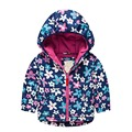 Girls winter Jacket Print Flower lining cotton Thickened Windbreaker Coats with hooded for girls to Kids 3-8 Yrs
