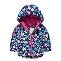 Inverno jaqueta de impressão flor forro de algodão espessamento casacos com capuz jaqueta para meninas para crianças 3 - 8 anos