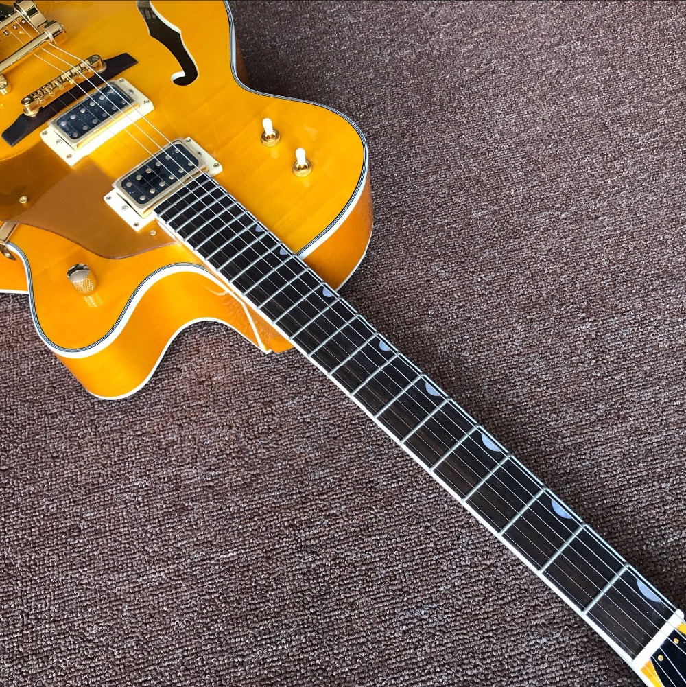 Factory Custom Shop yellow Hollow Body Electric Guitar factory direct