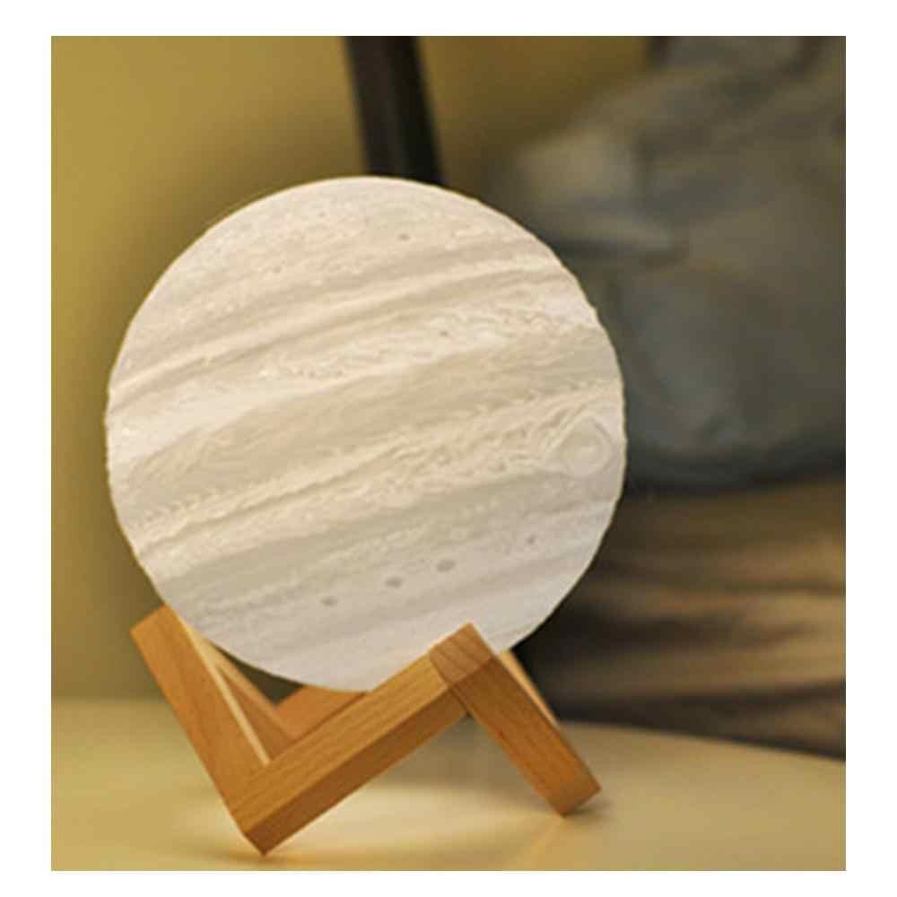 USB 3D imprimer Jupiter forme LED veilleuse pour enfants chambre lune Luminaria lampe avec 2 couleurs changer le contrôle tactile comme cadeau