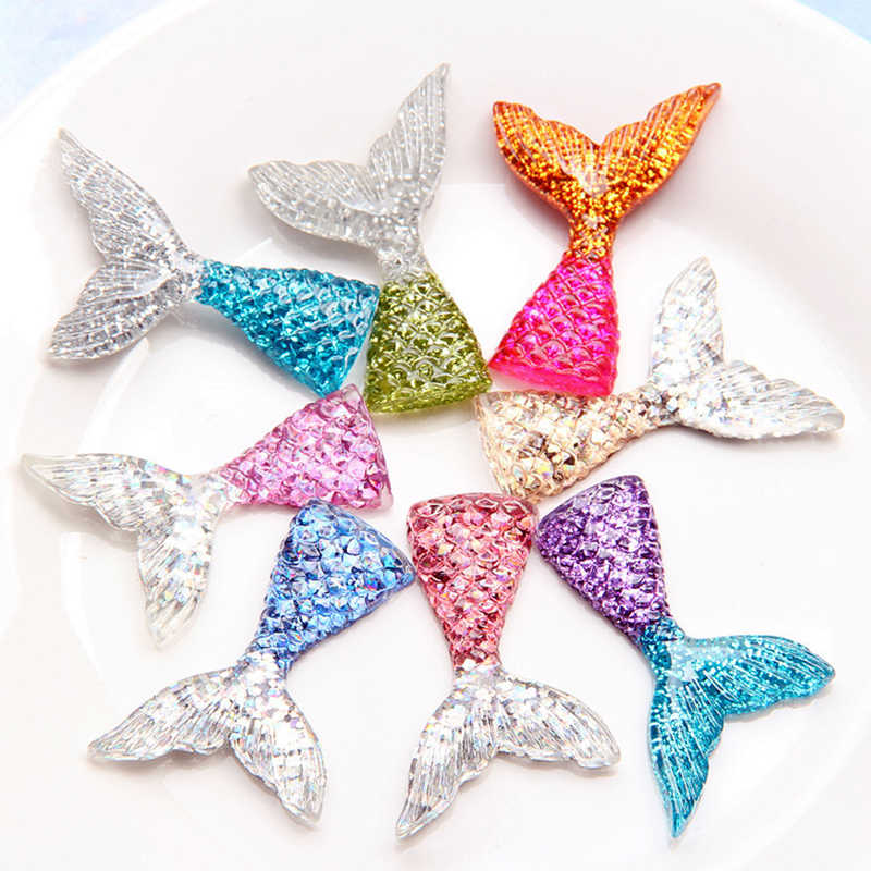 8 PCS/Lot Glittering Crystal Clear Mermaid Fish Tail Slices Slime Filler For Kids Lizun DIY Accessories Supplies Decoration