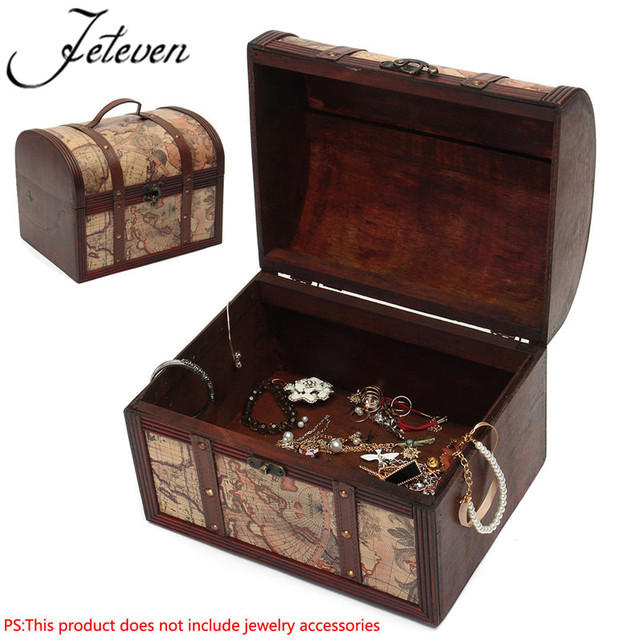 Relatively Large Wooden Vintage Jewelry Box Treasure Chest Case Map Atlas  TI83