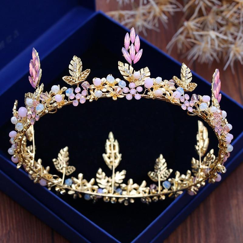 Pink Crystal Rhinestone Bridal Crowns Tiaras Hair Jewelry Gold Princess Wedding Round Big Crown For Women Headpieces Accessories все цены