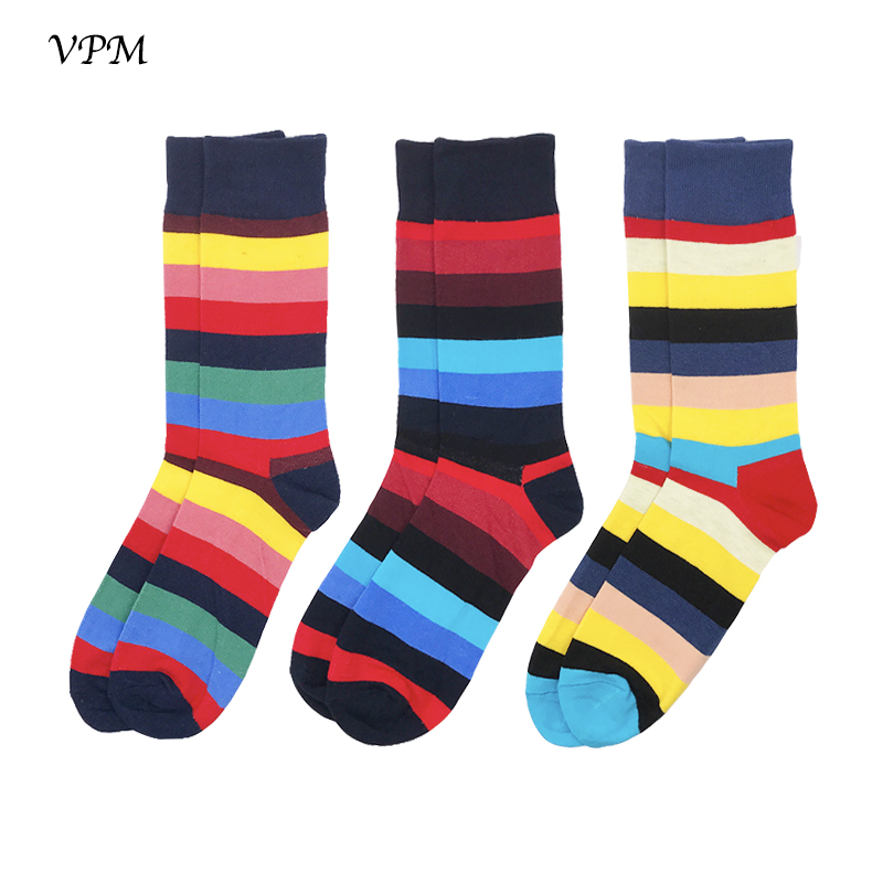 VPM Big Size EU 40-46 Brand Men Socks 3 Pairs/Lot Gift Colorful Horizontal Stripe Harajuku Happy Socks