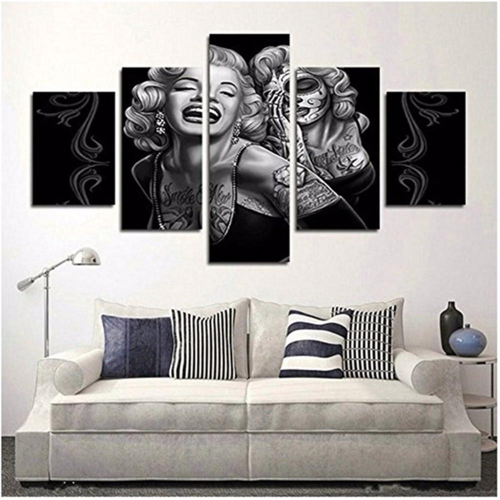 5 Panels Waterproof Canvas Painting Marilyn Monroe Sugar Skull HD Print Home Wall Hanging Art Oil Prints Pictures Modular Poster
