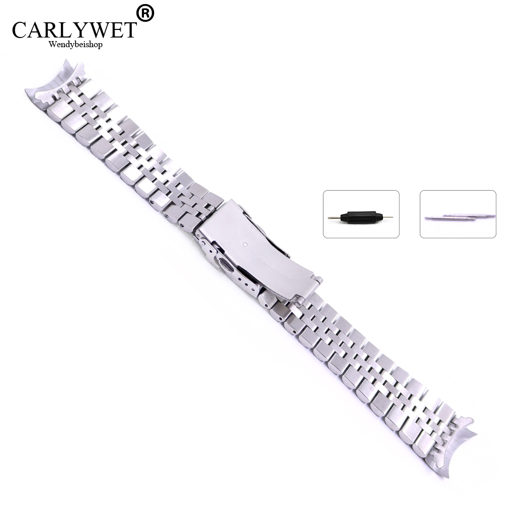 22 mm Hollow Curved End Solid Screw Links Acero inoxidable Plata - Accesorios para relojes - foto 3