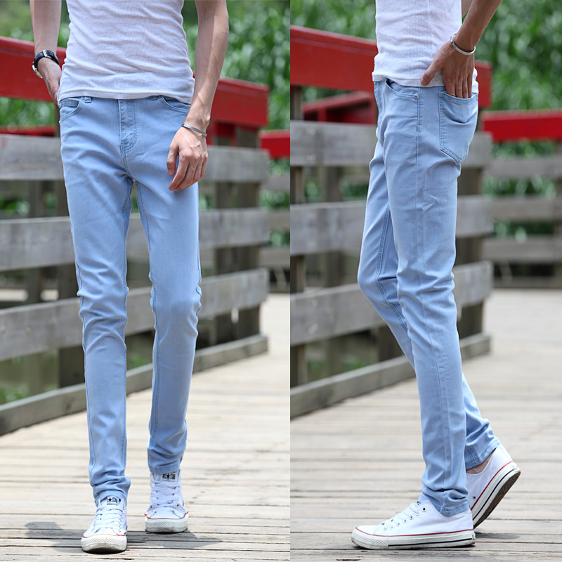 Men S Sky Blue Skinny Jeans Casual Slim Fit Denim Pants Plain Color Trousers With Pockets For Man Male Bottom P0078