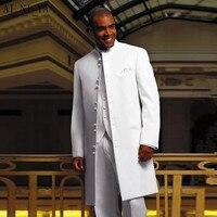 Белый длинное пальто формальный жених Смокинги для женихов дружки Блейзер Для мужчин Нарядные Костюмы для свадьбы Best Для мужчин 3 предмета