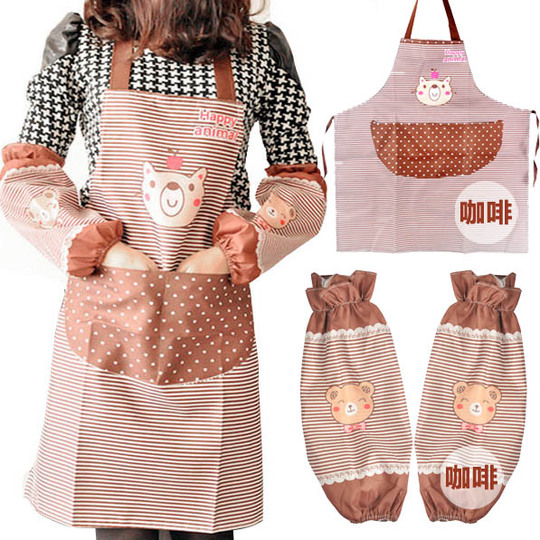 Buy Mic New Arrival Fashion Kitchen Apron Set Bibs Work Wear Over Sleeves 2pcs