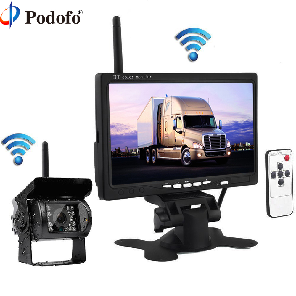 Podofo Wireless Truck Vehicle Car Rear View Backup Camera 7 HD Monitor IR Night Vision Parking Assistance Waterproof for RV RC car mp5 player bluetooth hd 2 din 7 inch touch screen with gps navigation rear view camera auto fm radio autoradio ios