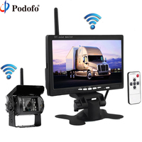 Podofo Wireless Truck Vehicle Car Rear View Backup Camera 7 HD Monitor IR Night Vision Parking Assistance Waterproof for RV RC