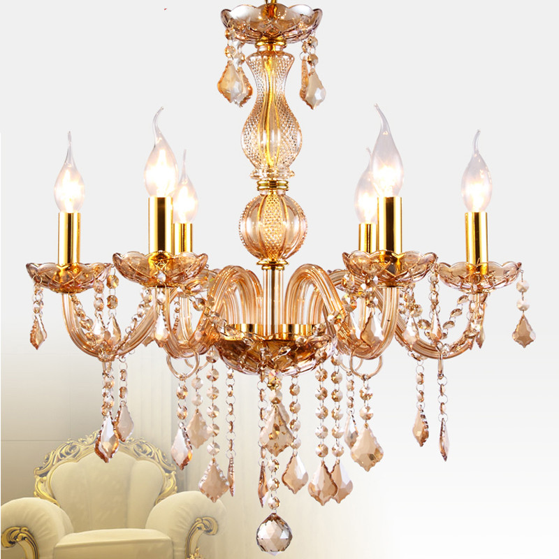 Kitchen chandelier for indoor home lighting Bedroom Living room lustres de sala 6 Arm Gold Color Crystal chandelier crystal lamp led chandeliers for dining room bedroom kitchen white color k9 crystal chandelier light for home decoration lustres para quarto