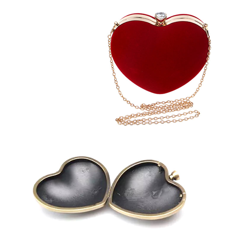 13 x 10.5 cm Heart Dressing Case and Bronze Metal Purse Frame with White Faceted Rhinestone Clasp