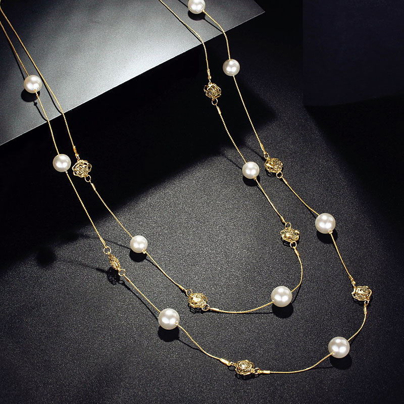 купить Fashion simulated Pearl Long Necklace Double Layers Chain Gold tone rose flower inside Crystals Women Jewelry Statement party по цене 560.29 рублей