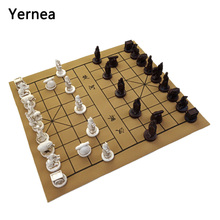 Yernea New Quality Traditional Chinese Chess Game Set Resin Pieces Soft Chessboard Archaize Retro Board Games