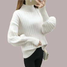 2018 Fashion Ladies Pullover knitted Sweaters Women Lantern Sleeve Turtlenecks Loose Plus Size Royal Blue Sweater Female Winter(China)