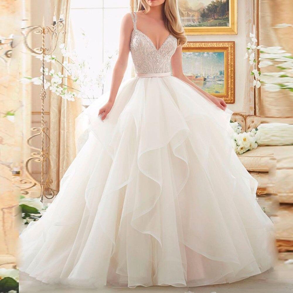 2018 Stock Corsetto Avorio Bianco Robe de Mariee Organza In Rilievo Increspato Plus Size Abito Da Sposa madre della sposa abiti
