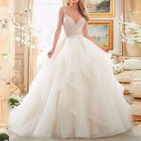 2018 Stock Corset Ivory White Robe de Mariee Organza Beaded Ruffled Plus Size Bridal Gown mother of the bride dresses