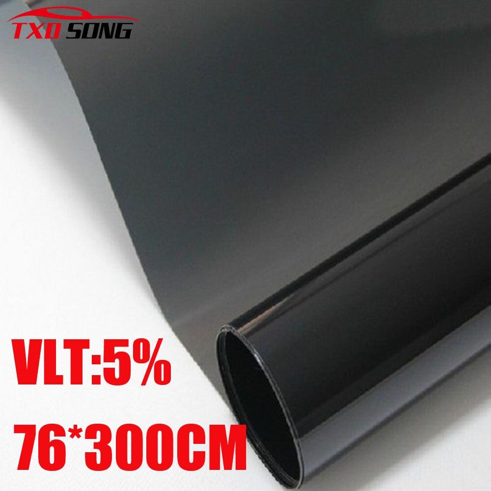 76 cm * 300 cm/Lot voiture côté fenêtre teinte Film verre VLT 5% 1PLY voiture Auto maison commerciale Protection solaire été par livraison gratuite