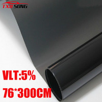 76cm*300cm/Lot Car Side Window Tint Film Glass VLT 5% 1PLY Car Auto House Commercial Solar Protection Summer BY Free shipping