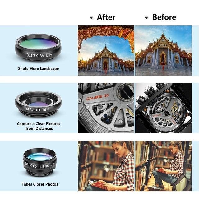 APEXEL 10in1 CellPhone Camera Lens Kit Wide Angle&Macro Lens+Fisheye Lens Telephoto Lens CPL/Flow/Star/Kaleidoscope for phones 2