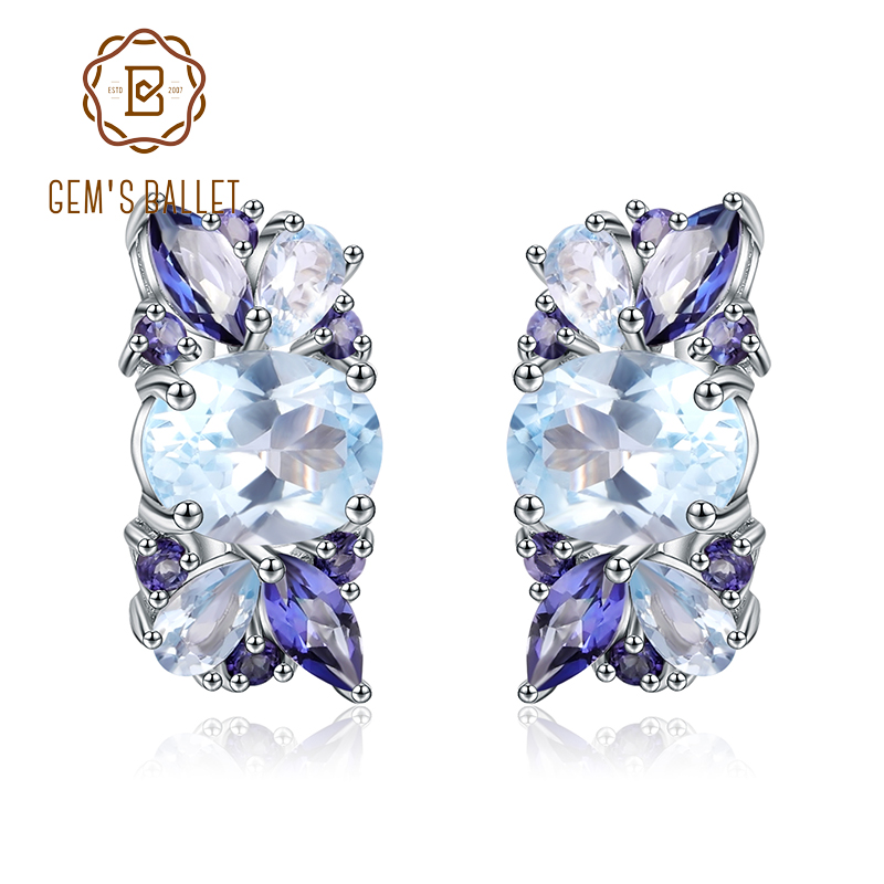 GEM S BALLET 925 Sterling Silver Flower Stud Earrings Natural Sky Blue Topaz Mystic Quartz Earrings