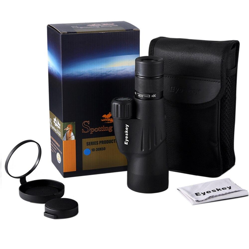Eyeskey Zoom Monocular 10-30x50 Bak4 Prism Powerful Telescope Monocular Waterproof Hunting Goods for Camping with Tripod