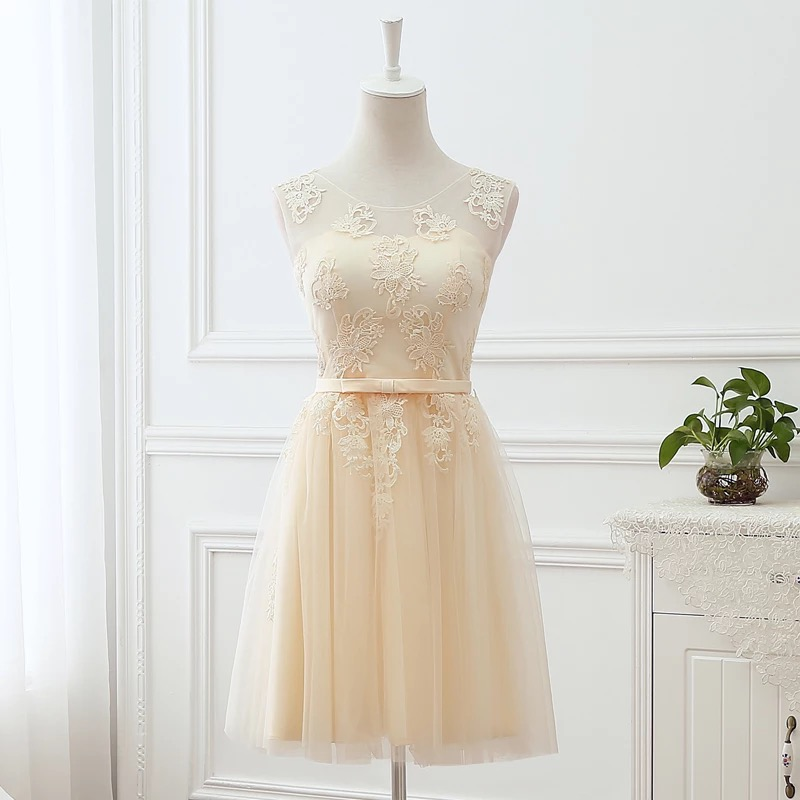 Short Lace Tulle Champagne   Bridesmaid     Dress   2019 New Elegant Wedding Party   Dresses   Sexy Formal Prom   Dress   robe de soiree BS03S