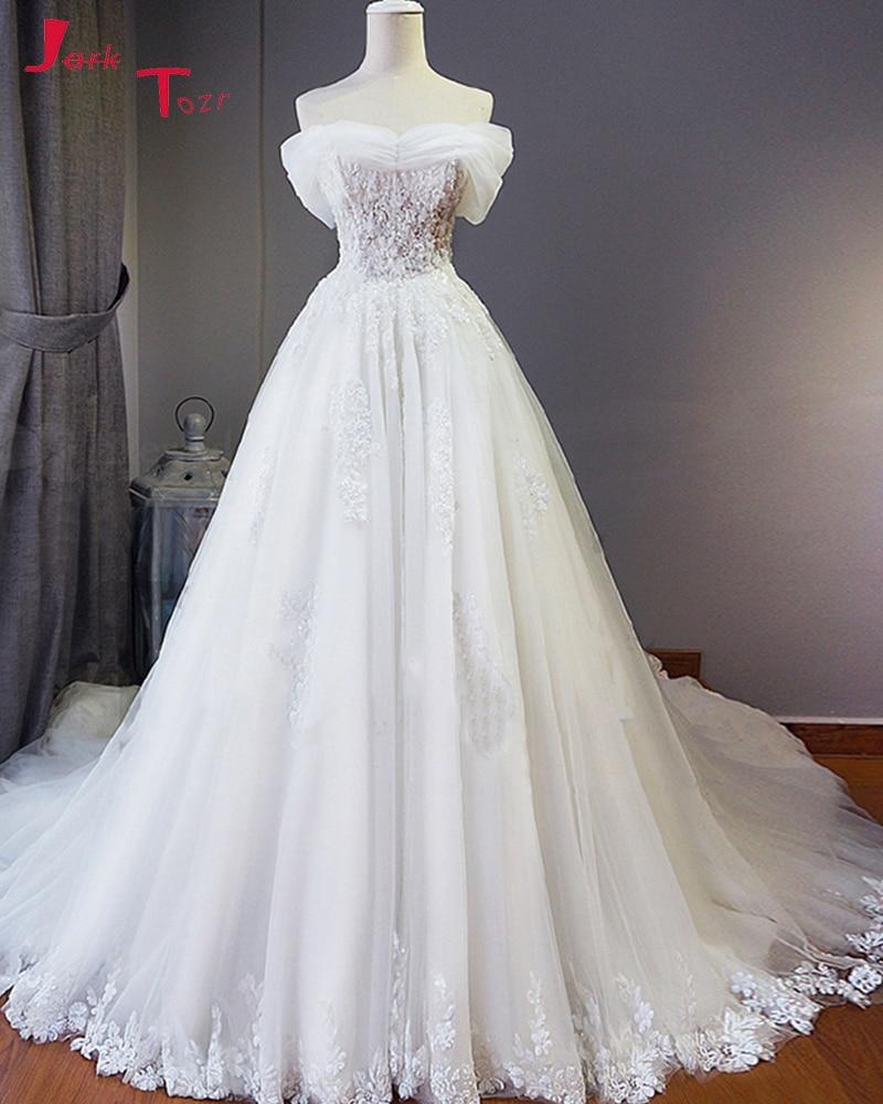 Jark Tozr Vestido De Noiva Boat Neck Off the Shoulder Beading Appliques Ivory Tulle Vintage Wedding Dresses 2019 Robe De Mariee