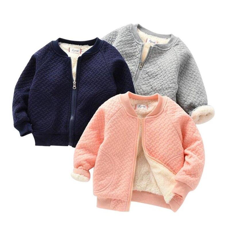2017 Infantile Del Bambino Del Bambino Delle Ragazze Dei Ragazzi Zip Solid Inverno Caldo Magliette E Camicette Casual Vestiti Cappotto 5.9 Squisita (In) Esecuzione