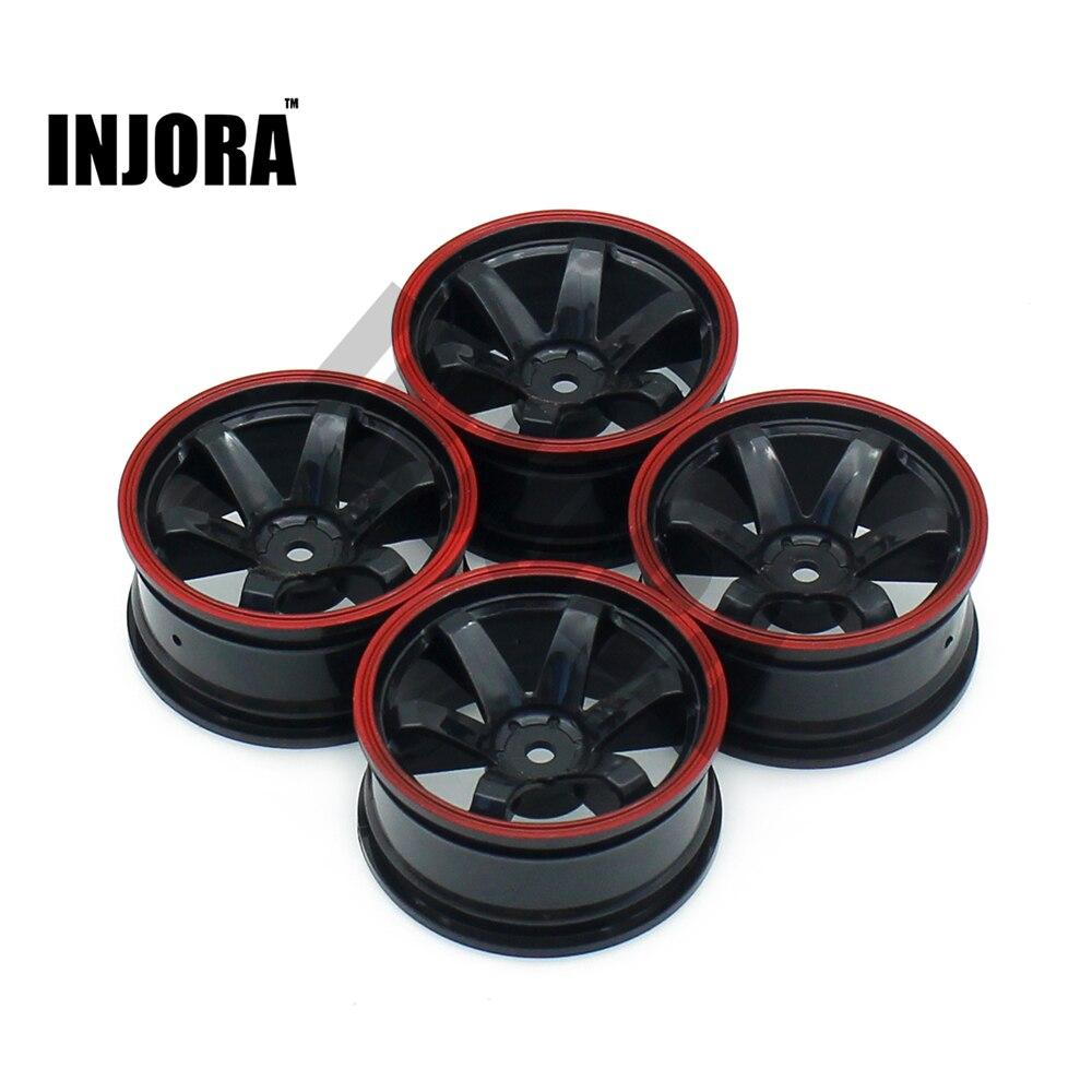 INJORA 4PCS Wheel Rim Tire Hub For 1/10 RC On Road Touring Car HSP HPI Traxxas Tamiya Kyosho 1:10 Drift Spare Parts