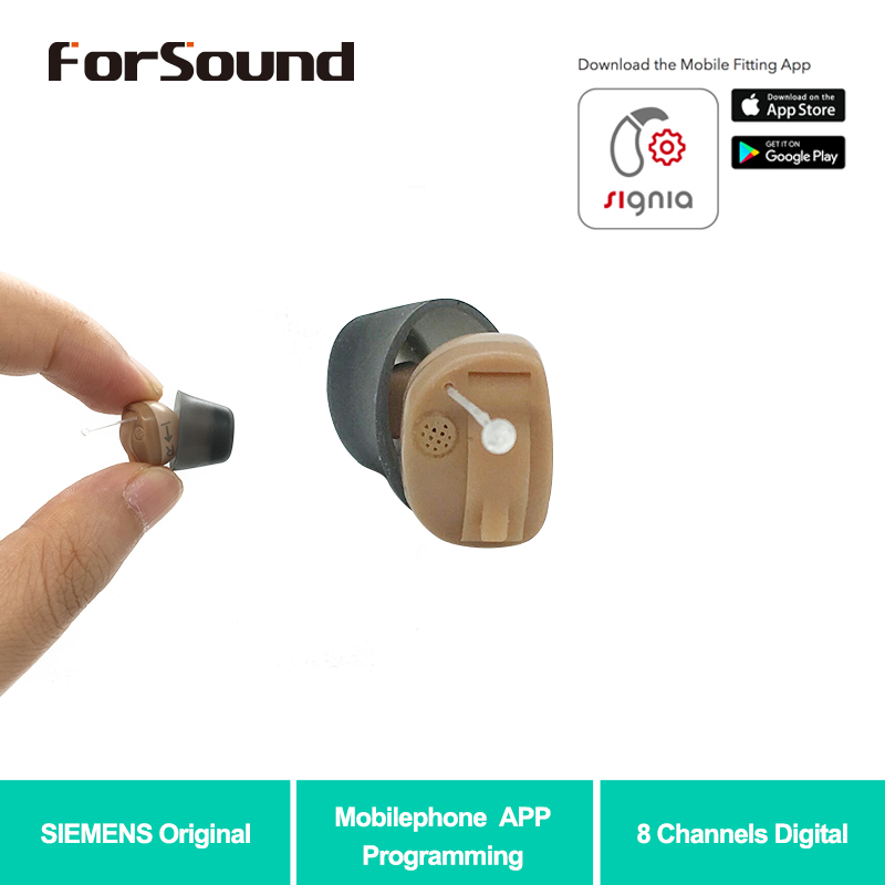 New Siemens 8 Channels Digital Invisible CIC Hearing Aid RUN Click ITC Signia Smartphone APP