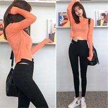 Orange T-shirt womens 2019 autumn Korean long-sleeved sexy