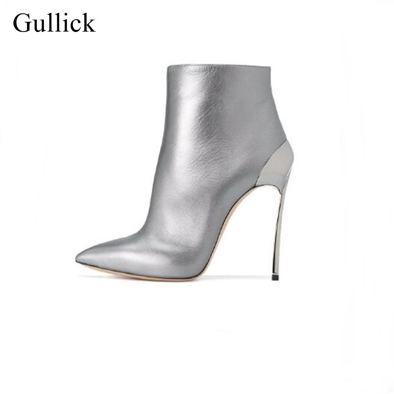2018 Newest Silver Blade Heels Ankle Boots Pointed Toe Side Zipper Metal Heels Bootie Women Spring Party Dress Shoes Leather newest flock blade heels shoes 2018 pointed toe slip on women platform pumps sexy metal heels wedding party dress shoes