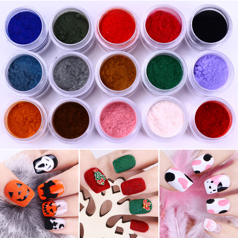 Image 2 - 1 Box Christmas Fuzzy Flocking Velvet Nail Powder Colorful Glitter Dust Winter Manicure UV Gel Polish Nail Art Tips Decoration-in Nail Glitter from Beauty & Health