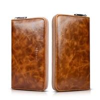Icarer Oil Wax Vintage Genuine Leather Wallet Case For Iphone 5 6 7 Plus Card Slots