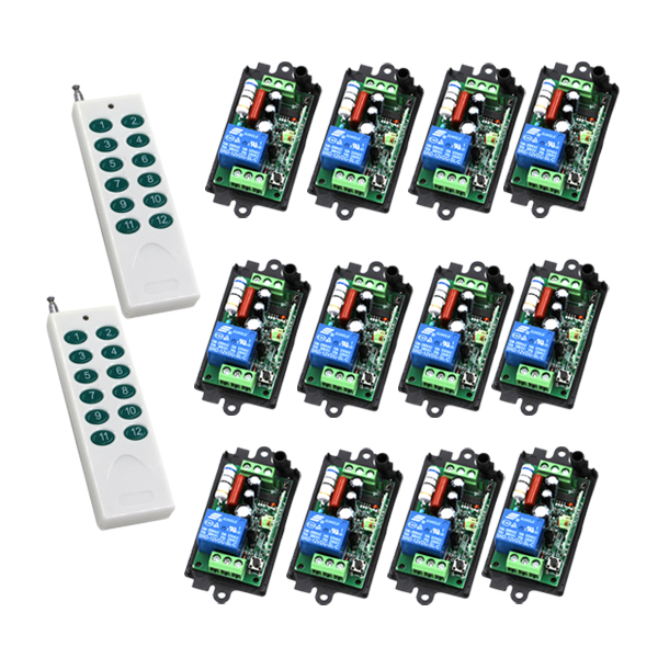 AC 110V 220V 1CH RF wireless remote control switch system 2 X Transmitter + 12 X Receiver Learning code 315/433MHZ SKU: 5176 2016 new ac 85v 110v 120v 220v 1ch rf wireless remote control system radio switch remote switch 220v learning code receiver