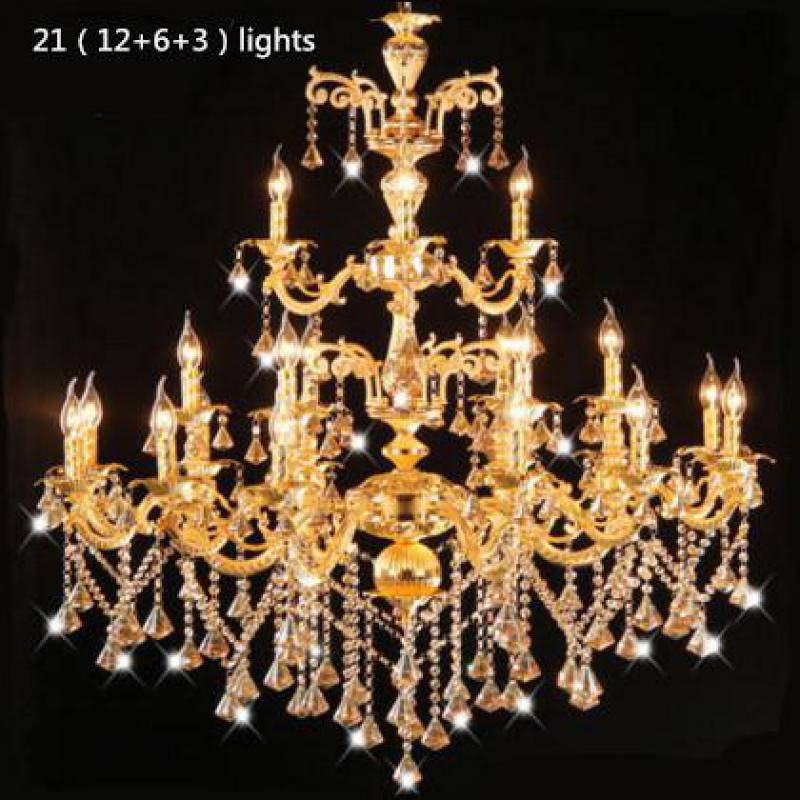 Antique Candle Chandeliers Champagne Crystal Chandelier: Big Antique Led Gold Candle Chandelier Penthouse Lobby