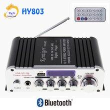 HY803 мини Усилители домашние автомобиля Усилители домашние Bluetooth Усилители домашние 40 Вт + 40 Вт fm MIC MP3 для автомобиля мотоцикла домашнего использования поддержка AC 220 В или DC 12 В