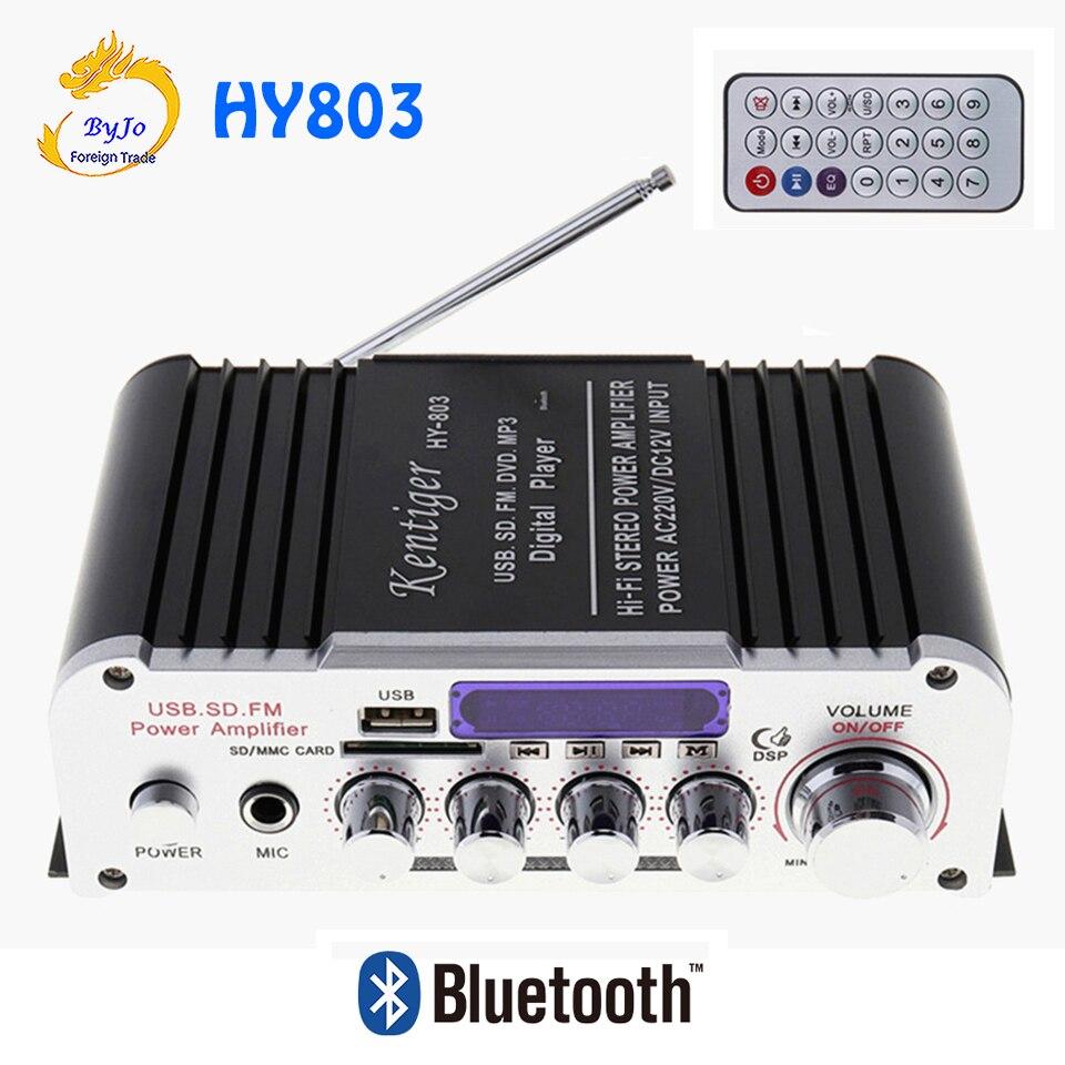 HY803 Mini amplificateur voiture amplificateur Bluetooth amplificateur 40 W + 40 W FM MIC MP3 pour voiture maison USB Support AC 220 V ou DC 12 V